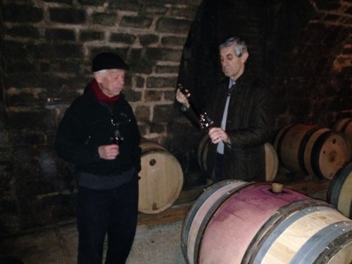 Barrel samples of 2012 Clos de Tart with Harry Santen and Sylvain Pitiot (L-R).