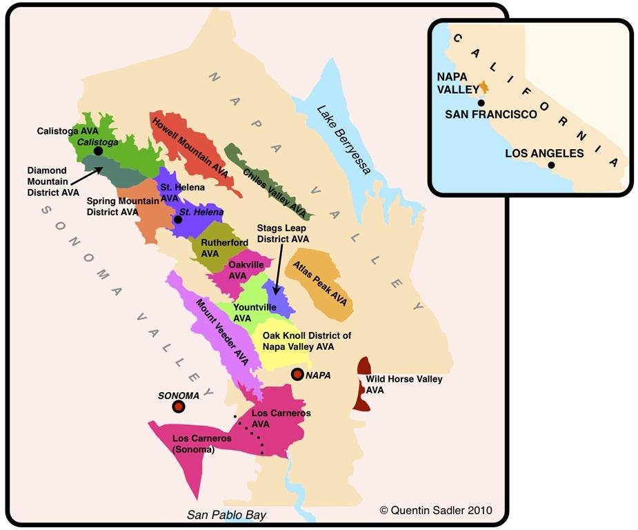 March Vino Ventures - Napa vineyards map