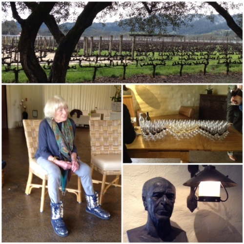 From top, clockwise: To Kalon Vineyard @ Robert Mondavi Winery; tasting; homage to Mr. Mondavi; Margrit Mondavi