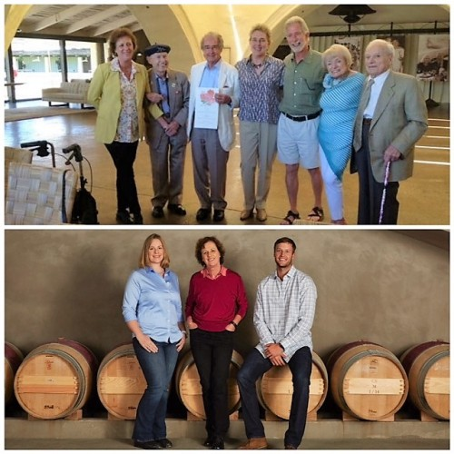 Top photo L-R: Genevieve Janssens (1997-present), Mike Grgich (1968-72), Warren Winiarski (1966-67), Zelma Long (enologist 1970-79); Tim Mondavi (1974-2004); Margrit Bievers Mondavi, and Peter Mondavi. (Source: Pinterest 100th birthday celebration lunch, 2013) Bottom photo L-R: Megan Schofield, Geneviève Janssens, Joe Harden
